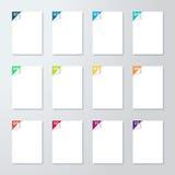 White pages con los pasos numerados 1 a esquina 12 Pealed detrás Foto de archivo libre de regalías