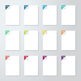White Pages With Numbered Steps 1 to 12 Corner Pealed Back. White Pages With Numbered Steps 1 to 12 and 3d Corners Pealed Back with colourful numbers Vector with Royalty Free Stock Photo