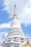 White Pagoda. White Pagoda in the bright sky and clouds Stock Photos