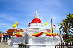 White pagoda against blue sky at Wat Poramaiyikawas Temple Stock Image