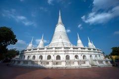 White Pagoda on ancient temple in Bangkok. Royalty Free Stock Photos