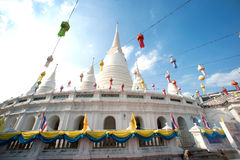 White Pagoda on ancient temple in Bangkok. Stock Images