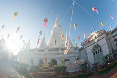 White Pagoda on ancient temple in Bangkok. Royalty Free Stock Photo
