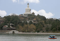 The White Pagoda at Beihai Park. Beijing, China - March 24 - The White Pagoda at Beihai Park, with people cruising in a boat on the lake below - 2010 royalty free stock photos