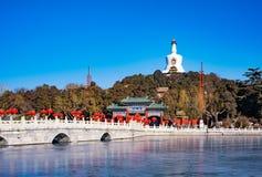 White Pagoda in Beihai Park,Beijing, China. View of white pagoda in beihai park,Beijing, China stock photography