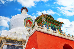 White Pagoda in  Beihai Park, near the Forbidden City, Beijing. Royalty Free Stock Images