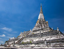 White pagoda and blue sky. Old white pagoda and blue sky Stock Photos