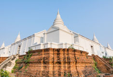 White pagoda on brick base Royalty Free Stock Photos