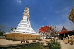 White pagoda and buddhist shrine architecture Royalty Free Stock Image