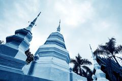 Xishuangbanna Baita Temple. White pagoda in Buddhist temple in Xishuangbanna, Sipsongpanna, or Sibsongbanna in the south of Yunnan province, People`s Republic of Royalty Free Stock Photography