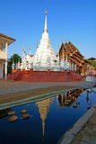 White pagoda. This is  a  white pagoda  in ChianMai at thailand royalty free stock photos