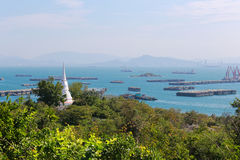 White pagoda of Chulachomklao in Ko Sichang at Chonburi province Stock Photo