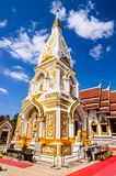 White pagoda decorate with gold agiant blue sky Royalty Free Stock Photos