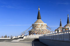 The White Pagoda forest. The white Pagoda is a landmark of Tibetan Buddhism,it bring people a peaceful and tranquil feeling Royalty Free Stock Photos