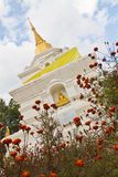 White pagoda with golden Buddha. In the north of Thailand Stock Images