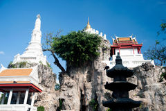 White Pagoda on hill in ancient temple, Bangkok. Stock Images