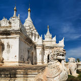 White Pagoda at Inwa city with lions guardian statues. Myanmar  Stock Images