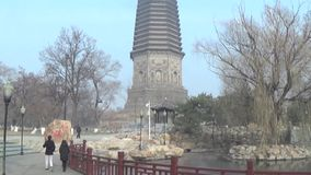 White pagoda in liaoyang stock video footage