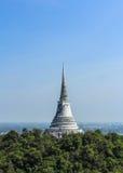 White Pagoda on the mountain. White Pagoda old was abandoned on the mountain in Phetchaburi Province, Thailand Stock Images