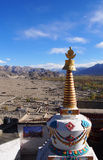 White Pagoda with mountain view Royalty Free Stock Photo