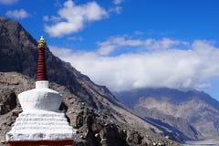 White Pagoda with mountain view Royalty Free Stock Photos
