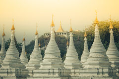 White pagoda in Myanmar Royalty Free Stock Photos