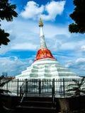 White pagoda. With red silk at Kohkred , Nonthaburi ,Thailand Stock Photography
