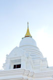 White pagoda in a temple thailand. White marble pagoda in a temple thailand Royalty Free Stock Images