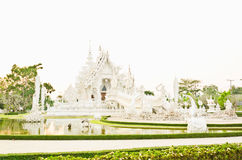 White pagoda at the Thai temple, Khonkaen Stock Photo