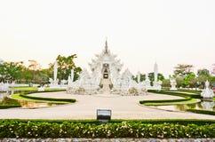 White pagoda at the Thai temple, Khonkaen. White pagoda at the Thai temple, Buddha church at the Thai temple style Stock Photos