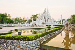 White pagoda at the Thai temple, Khonkaen Royalty Free Stock Photo