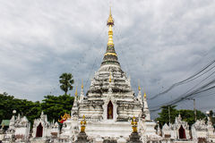 White pagoda in Thai temple in Pasang Lamphun Stock Photography