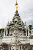 White pagoda in Thai temple in Pasang Lamphun Royalty Free Stock Photos