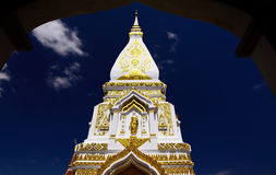 White pagoda in thailand. White pagoda with blue sky in thailand royalty free stock photos