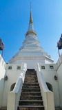 White pagoda in thailand. White pagoda with bule sky Royalty Free Stock Image