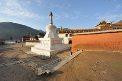 White pagoda in tibetan temple Royalty Free Stock Photography