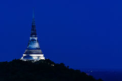 White pagoda on top of hill. stock images
