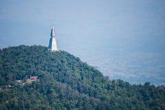 white pagoda at the top of Phu Tub Berk Mountain Royalty Free Stock Photos
