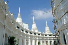 White Pagoda Under Construction at Wat Prayoon Temple. Bangkok Thailand Royalty Free Stock Images