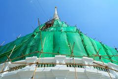 White Pagoda Under Construction at Wat Prayoon Temple. Bangkok Thailand royalty free stock image