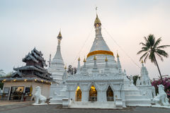 White pagoda in Wat Phra That Doi Gongmu landmark of Maehongson Stock Image
