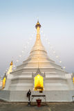 White pagoda in Wat Phra That Doi Gongmu landmark of Maehongson Royalty Free Stock Photography