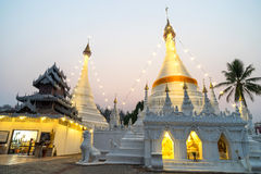 White pagoda in Wat Phra That Doi Gongmu landmark of Maehongson Royalty Free Stock Image