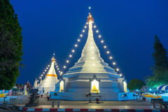 White pagoda in Wat Phra That Doi Gongmu landmark of Maehongson Stock Photos