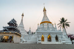 White pagoda in Wat Phra That Doi Gongmu landmark of Maehongson Stock Images