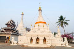 White pagoda in Wat Phra That Doi Gongmu landmark of Maehongson Royalty Free Stock Images