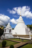 White pagoda in Wat Phra Singh Woramahaviharn Stock Photos