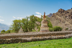 White Pagodas with Blue Sky. Leh, a high-desert city in the Himalayas, is the capital of the Leh region in northern India's Jammu and Kashmir state Stock Photo