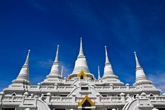 White pagodas at Wat Asokaram, Samut Prakan Royalty Free Stock Images