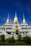 White pagodas at Wat Asokaram, Samut Prakan Royalty Free Stock Photos